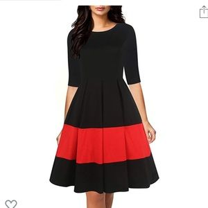 Cute Pleated Red and Black Vintage Dress